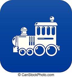 blaues, eisenbahn, vektor, ikone