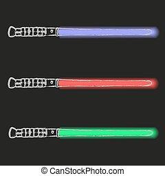 blaues, eps10, licht, schwerter, zukunft, grün, gekritzel, rotes