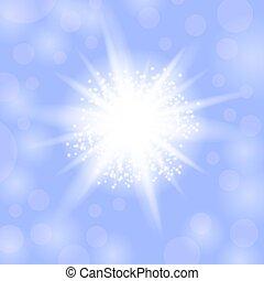 blaues, explosion., stern, starburst, funkeln, glühen, hintergrund, licht, funkeln