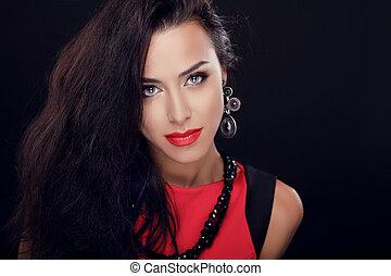 blaues, eyes., sexy, schoenheit, m�dchen, mit, rotes , lips., provozierend, machen, auf., mode, brünett, frauenportraets, mit, langes haar, freigestellt, auf, a, schwarz, hintergrund.