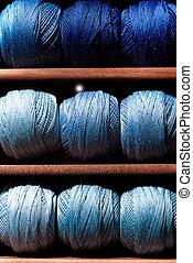 blaues, fäden