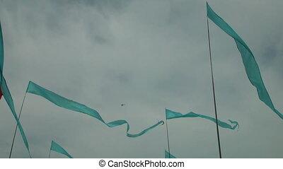 blaues, fahne, himmelsgewölbe