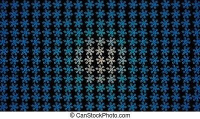 blaues, farbe, bewegen, schneeflocken, hintergrund