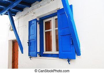 blaues, fenster, mykonos, shuttered, greece.