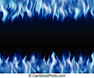 blaues, feuer, ränder, tileable