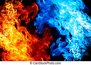blaues, feuer, rotes