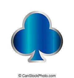 blaues, feuerhaken, klub, symbol, kasino, karte