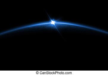 blaues, finsternis, -, lunar, sonnenaufgang