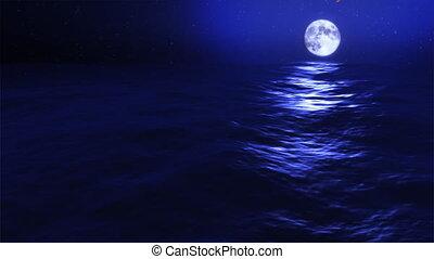 blaues, finsternis, mond, meteor, wellen, wasserlandschaft...