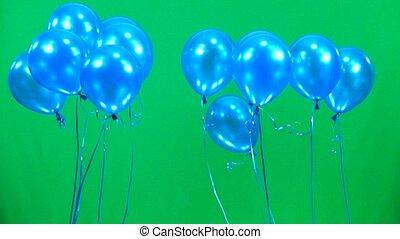 blaues, fliegen, langsam, schirm, auf, bewegung, grün, luftballone