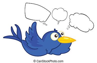 blaues, fliegendes, kreatur