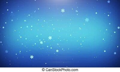 blaues, fliegendes, schneeflocken, hintergrund