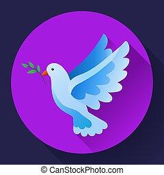 blaues, fliegendes, zweig, engelchen, concept., frieden, -, symbol., frei, symbol, gott, god., pacifism, vorsehung, icon., göttlich, taube, vogel, erde, ikone
