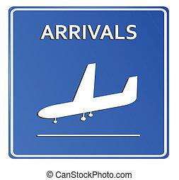 blaues, flughafen, ikone, arrivals..vector, abbildung