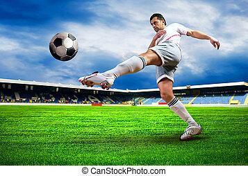 blaues, footballziel, spieler, nach, himmelsfeld, stadion, ...