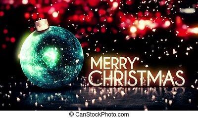 blaues, fröhlich, bokeh, weihnachten, silber