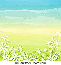 blaues, frühjahrsblumen, grüner hintergrund