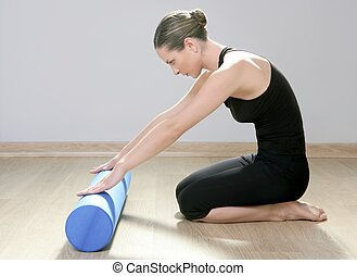 blaues, frau, joga, turnhalle, schaum, pilates, fitness, sport, rolle
