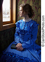 blaues, frau sitzen, weinlese, junger, coupe, fenster, zug,...