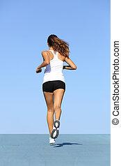 blaues, frau zurück, rennender , fitness, ansicht