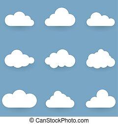 blaues, freigestellt, formen, hintergrund, weiße wolke
