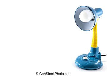 blaues, freigestellt, gelber , lampe, buero, weißes