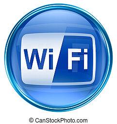 blaues, freigestellt, hintergrund, weißes, wi-fi, ikone