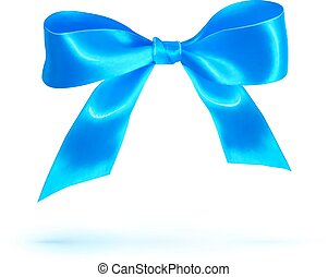 blaues, freigestellt, schleife, glänzend, weißes, seide