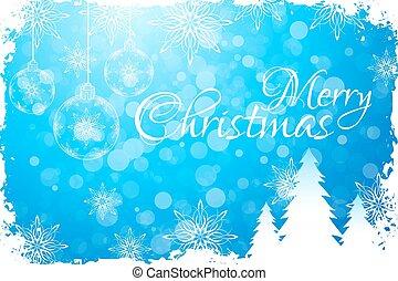 blaues, frohe weihnacht, karte, gruß