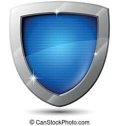 blaues, funkeln, vektor, metall, schutzschirm