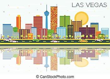 blaues, gebäude, farbe, himmelsgewölbe, skyline, las vegas, reflections., las