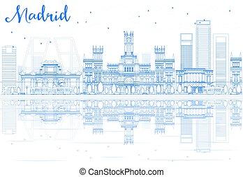 blaues, gebäude, grobdarstellung, madrid, skyline, reflections.