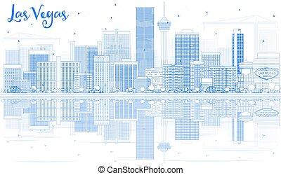 blaues, gebäude, grobdarstellung, skyline, las vegas, reflections., las