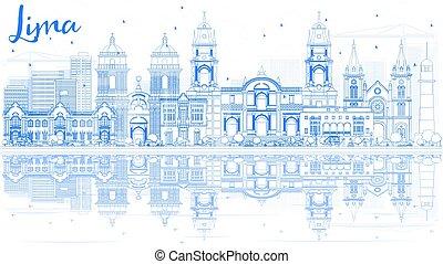 blaues, gebäude, grobdarstellung, skyline, reflections., lima