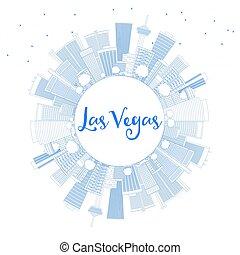 blaues, gebäude, grobdarstellung, space., skyline, las vegas, kopie, las