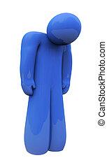 blaues, gefühl, freigestellt, traurige , person, alleine, gefuehle, depressionen
