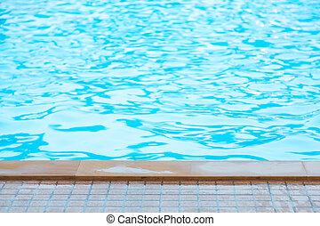 blaues, gekräuselten wasser, teich, schwimmender