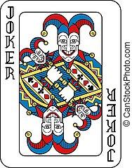 blaues, gelber , joker, schwarz, karte spielen, rotes