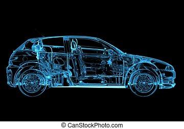 blaues, geleistet, auto, xray, durchsichtig, 3d