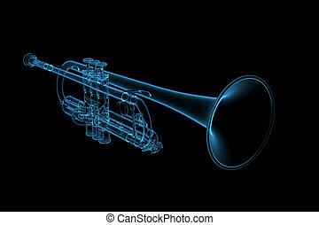 blaues, geleistet, glühen, trompete, durchsichtig, 3d