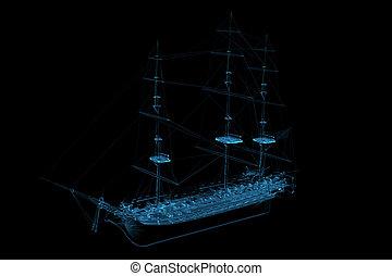 blaues, geleistet, segelboot, xray, durchsichtig, 3d