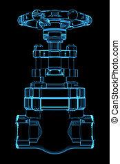blaues, geleistet, ventil, durchsichtig, röntgenaufnahme, 3d