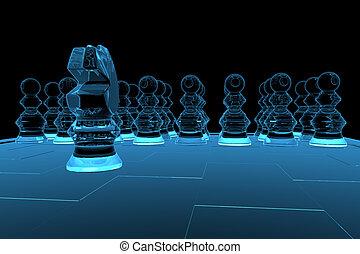blaues, geleistet, xray, schach, durchsichtig, 3d