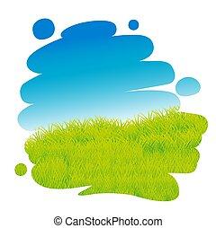 blaues, gemalter himmel, -, abbildung, vektor, grünes gras, landschaftsbild