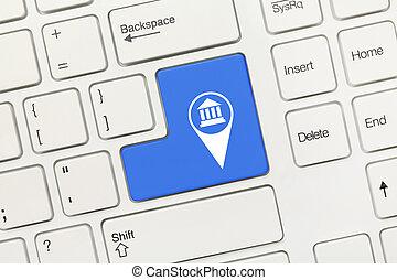 blaues, geolocation, museum, -, schlüssel, tastatur,...