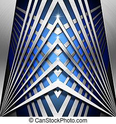 blaues, geometrisch, metall, hintergrund