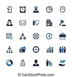blaues, geschäfts-ikon, reihe, -, 4), (set
