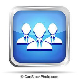 blaues, geschäftsmann, gruppe, ikone