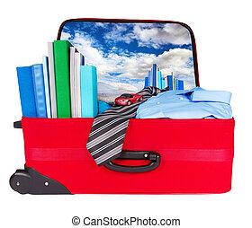 blaues, geschäftsreise, koffer, reise, gepackt