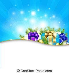 blaues, geschenk, hintergrund, sunburst
